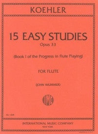 Kohler 15 Easy Studies For Flute Book 1