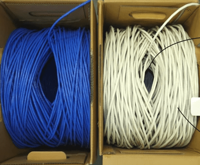 difference between reelex and non reelex 2 cable packing blue and white ethernet cable