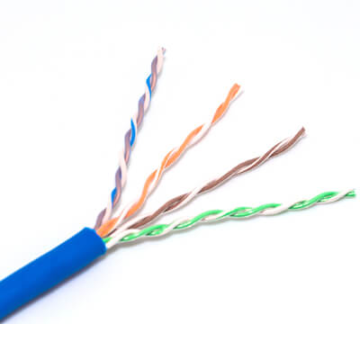 close up of stranded cat6 utp 28AWG bulk ethernet cable
