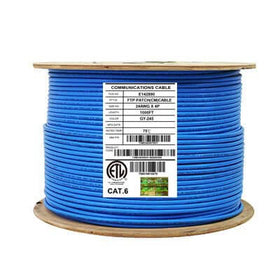 Cat6 Shielded CM Stranded Ethernet Cable 26AWG FTP 1000ft Blue