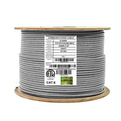 Cat6 Shielded CM Stranded Ethernet Cable 26AWG FTP 1000ft Grey