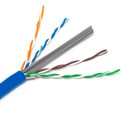 close up of cat 6e cmr cable with splne