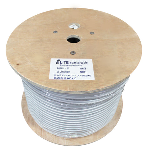 RG59/U 20AWG Solid BCC 80% CCA Braiding Control Coaxial Cable 1000 ft.
