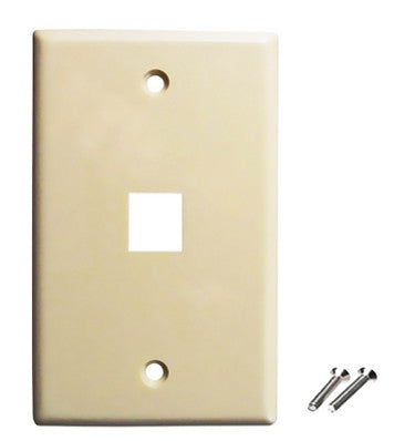 ivory color wall plate 1 port keystone jack