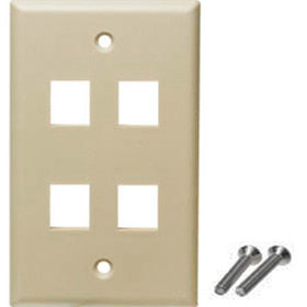 4 port wall plate ivory color