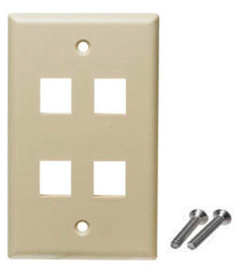 4 port wall plate ivory color keystone
