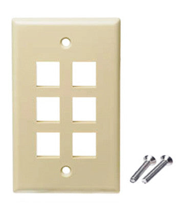 6 port wall plate ivory color