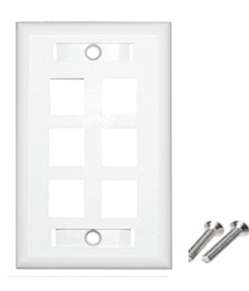 6 port wall plate color white