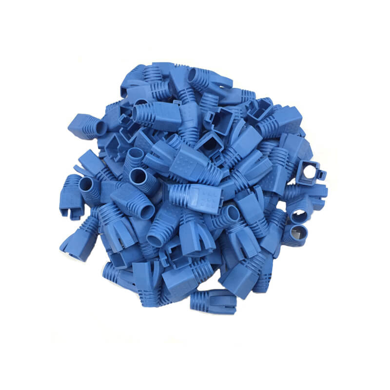 cat6 strain relief rj45 boots in blue