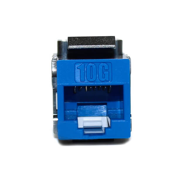 cat6a 180 degree keystone jack blue