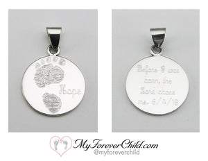 Actual Size 20 week Baby Footprint on XL Round Sterling Silver Pendant