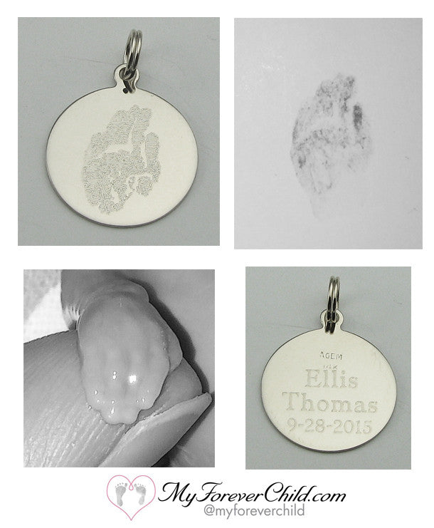 14K White Gold Charm Custom Engraved Actual 17 week Baby Handprint
