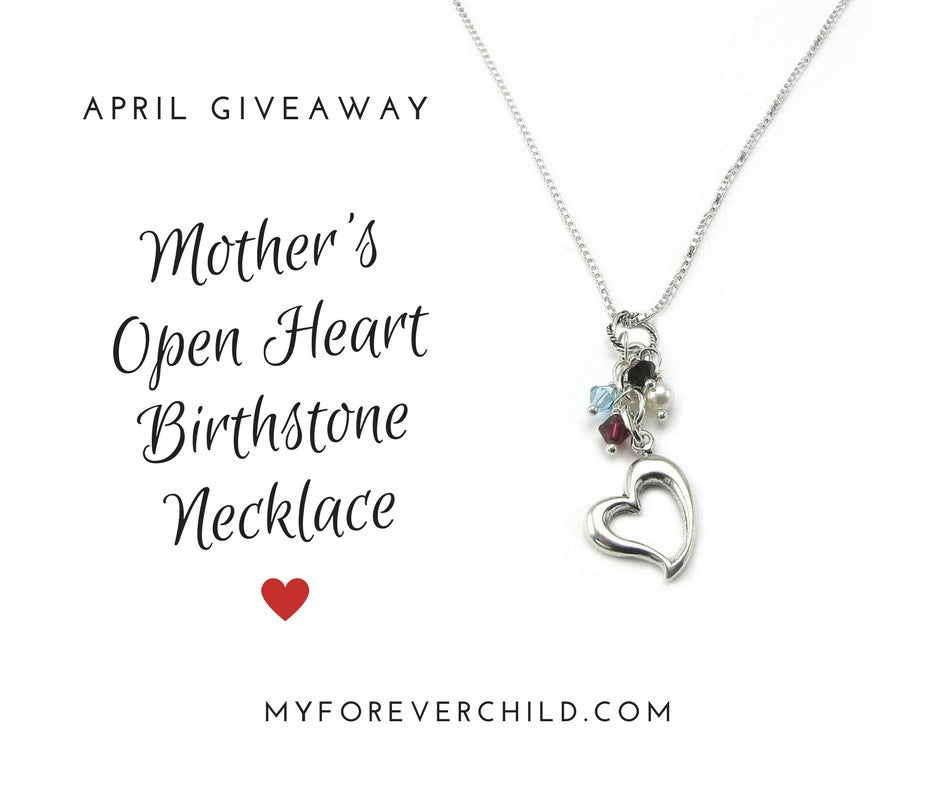 April giveaway mothers open heart birthstone necklace my forever april 2017 giveaway mothers open heart childrens birthstone necklace aloadofball Images