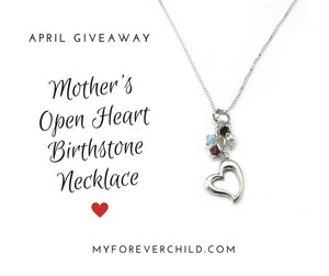 April 2017 Giveaway- Mother's Open Heart Children's Birthstone Necklace