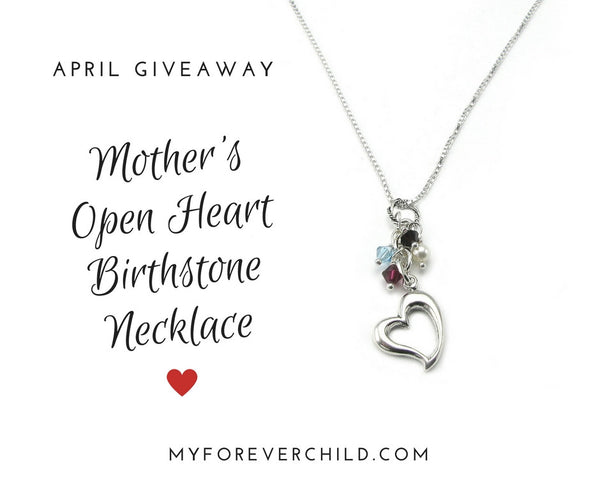April Giveaway- Mother's Open Heart Birthstone Necklace