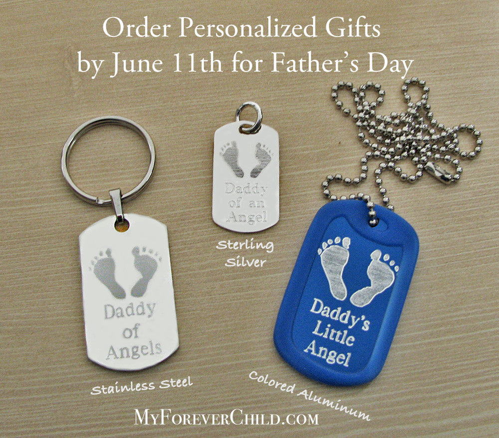 personalized fathers day gifts: dog tag keychains pendants necklaces, daddy of angels