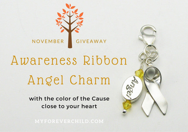 November Giveaway- Awareness Support Ribbon Angel Charm
