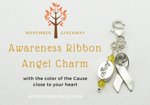 November Giveaway- Awareness Ribbon Angel Charm