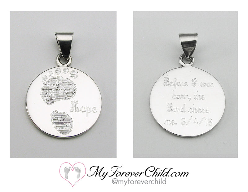 Actual Size Baby Footprint on XL Round Sterling SIlver Pendant
