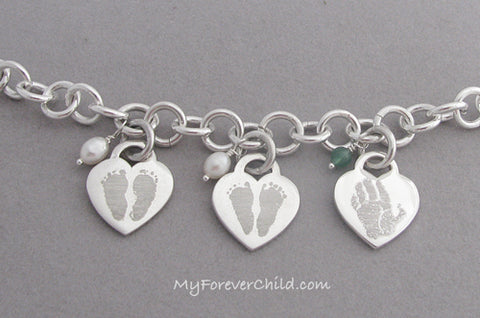 Actual Baby Footprints Medium Heart Charms Bracelet Sterling Silver