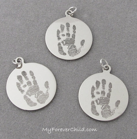 Actual Adult Handprint Charm 14K White Gold- memorial jewelry keepsake gift