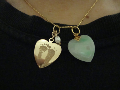 Custom Footprints 14K Yellow Gold Heart Pendant Necklace
