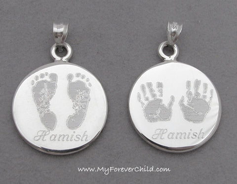 Actual Baby Footprints Handprints Jewelry- XL Round Sterling Silver Pendants