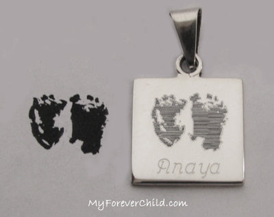 Actual Size Baby Footprints Custom Engraved Square Pendant Sterling Silver