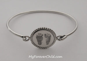 Custom Silver Bangle Bracelet Actual Size Baby Footprints