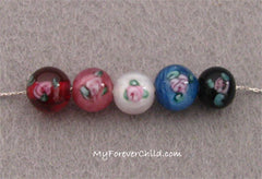 Rose Garden Lampwork Bead Colors: Red, Pink, White, Blue, Black