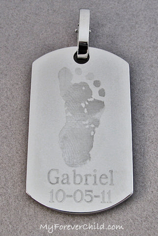 Actual Baby Footprint Stainless Steel Dog Tag Pendant