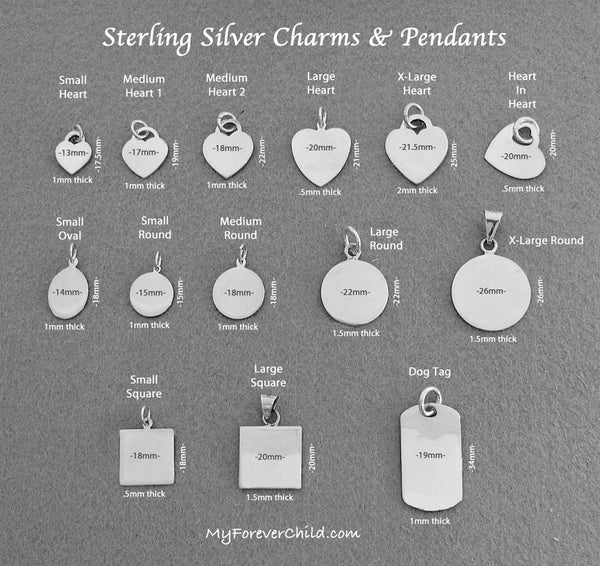 Sterling Silver Engravable Pendant Shapes and Sizes