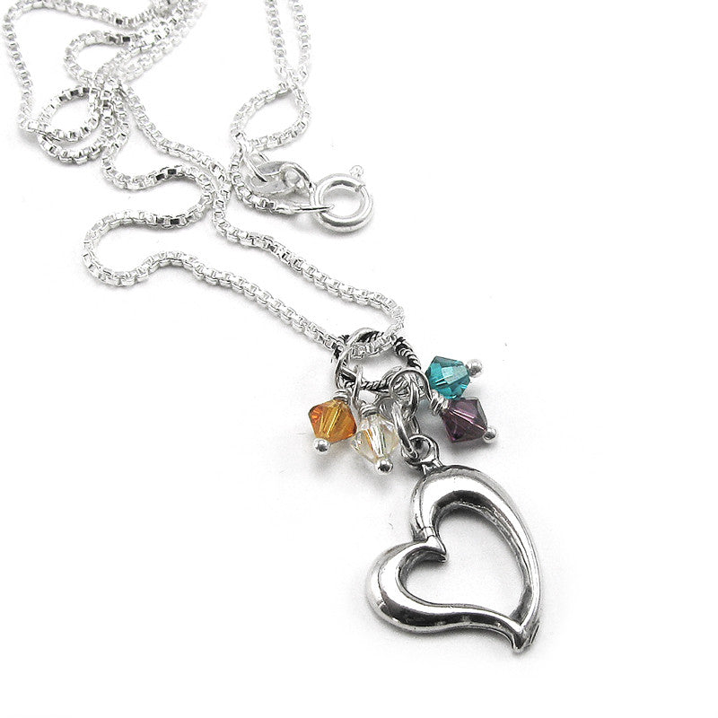 Sterling Silver open heart family necklace with birthstone crystals- perfect for mothers and grandmothers