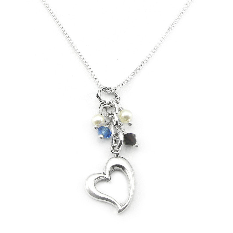 Personalized family jewelry my forever child sterling silver open heart family necklace with birthstone crystals perfect for mothers and grandmothers aloadofball Images