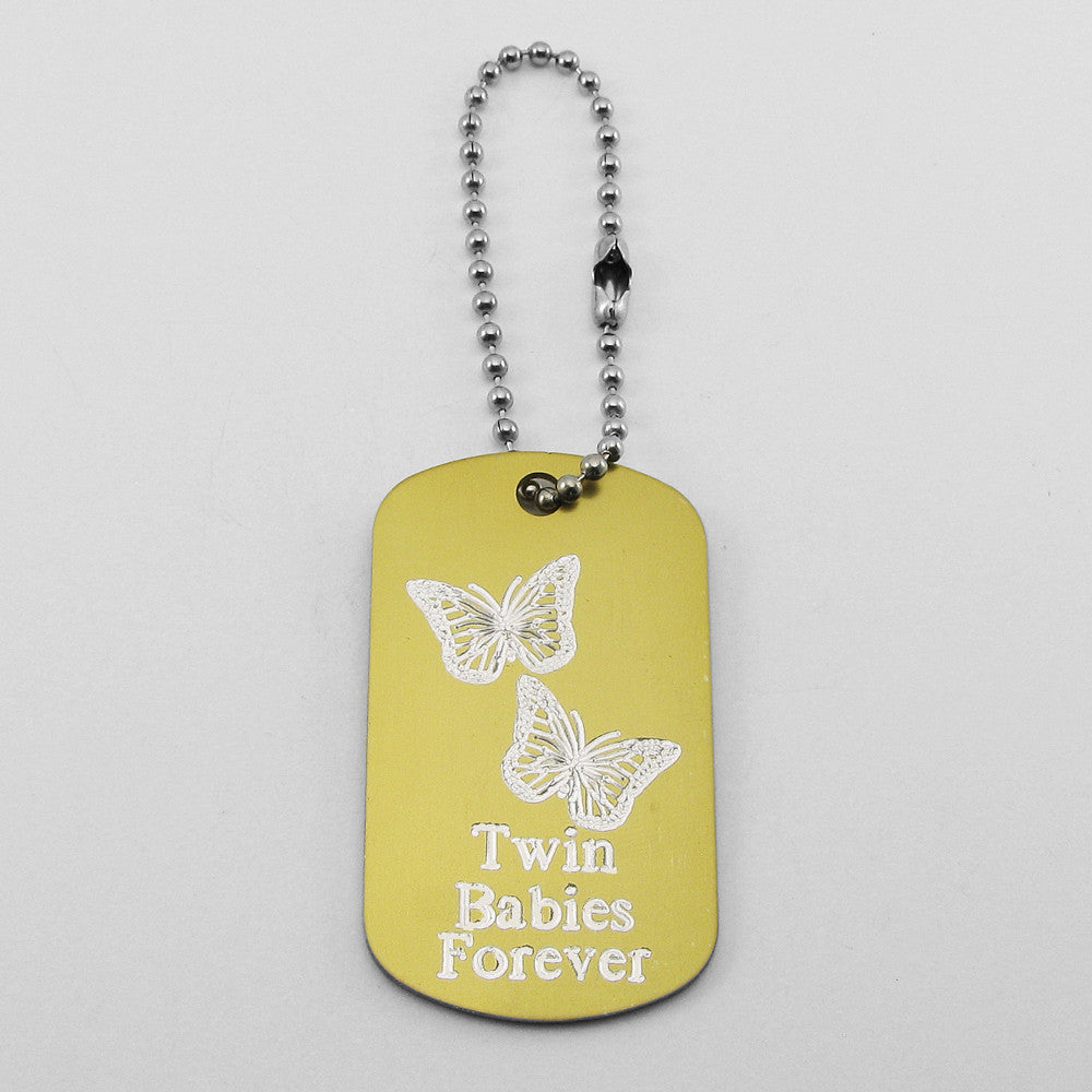 Twin Babies Forever- Two Butterflies gold aluminum dog tag pendant memorial keychain