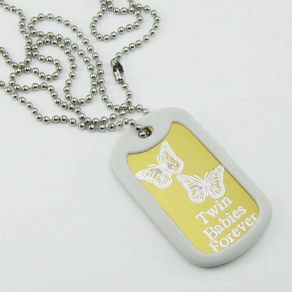 Twin Babies Forever- Two Butterflies yellow aluminum dog tag pendant memorial necklace
