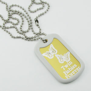 Twin Babies Forever- TwoButterflies yellow aluminum dog tag pendant memorial necklace