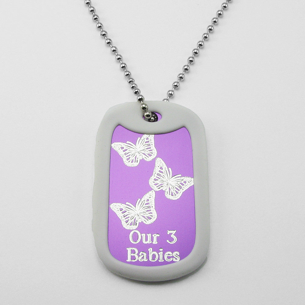 Our 3 Babies- Three Butterflies purple aluminum dog tag pendant memorial necklace