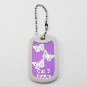 Our 3 Babies- Three Butterflies purple aluminum dog tag pendant memorial bag tag