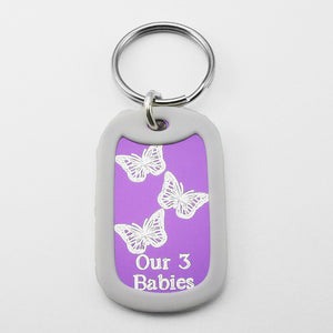 Our 3 Babies- Three Butterflies purple aluminum dog tag pendant memorial keychain