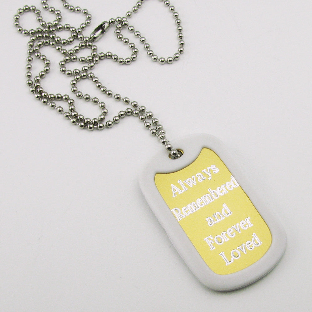 Always Remembered & Forever Loved- yellow aluminum dog tag pendant memorial necklace