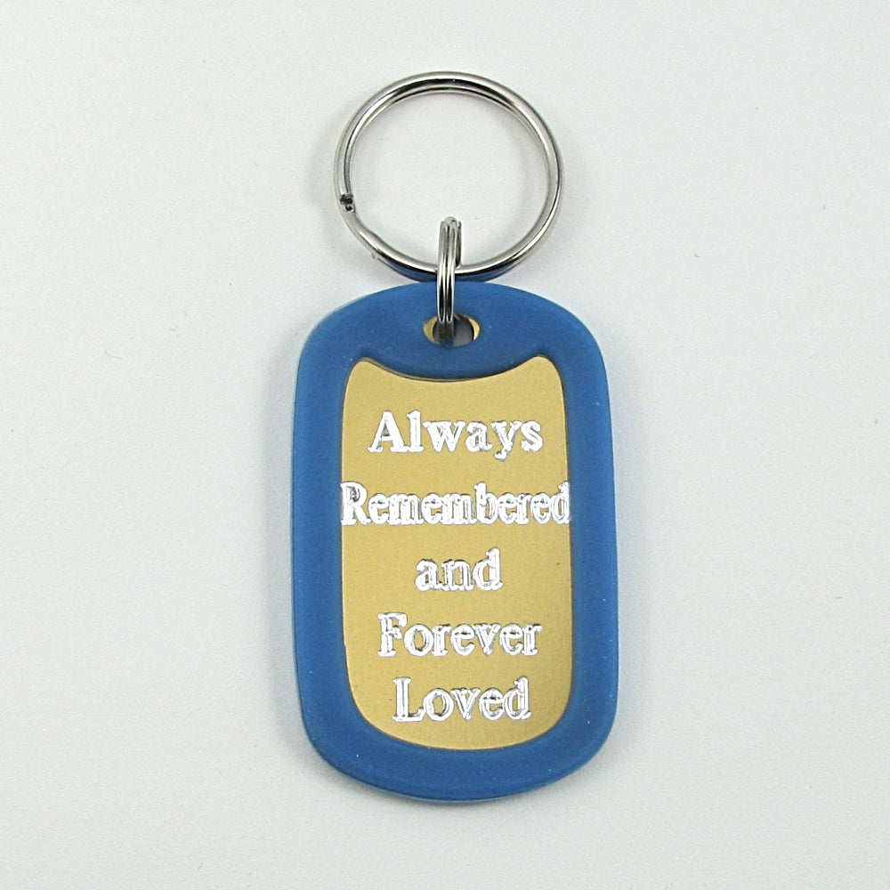 Always Remembered & Forever Loved- purple aluminum dog tag pendant memorial key chain
