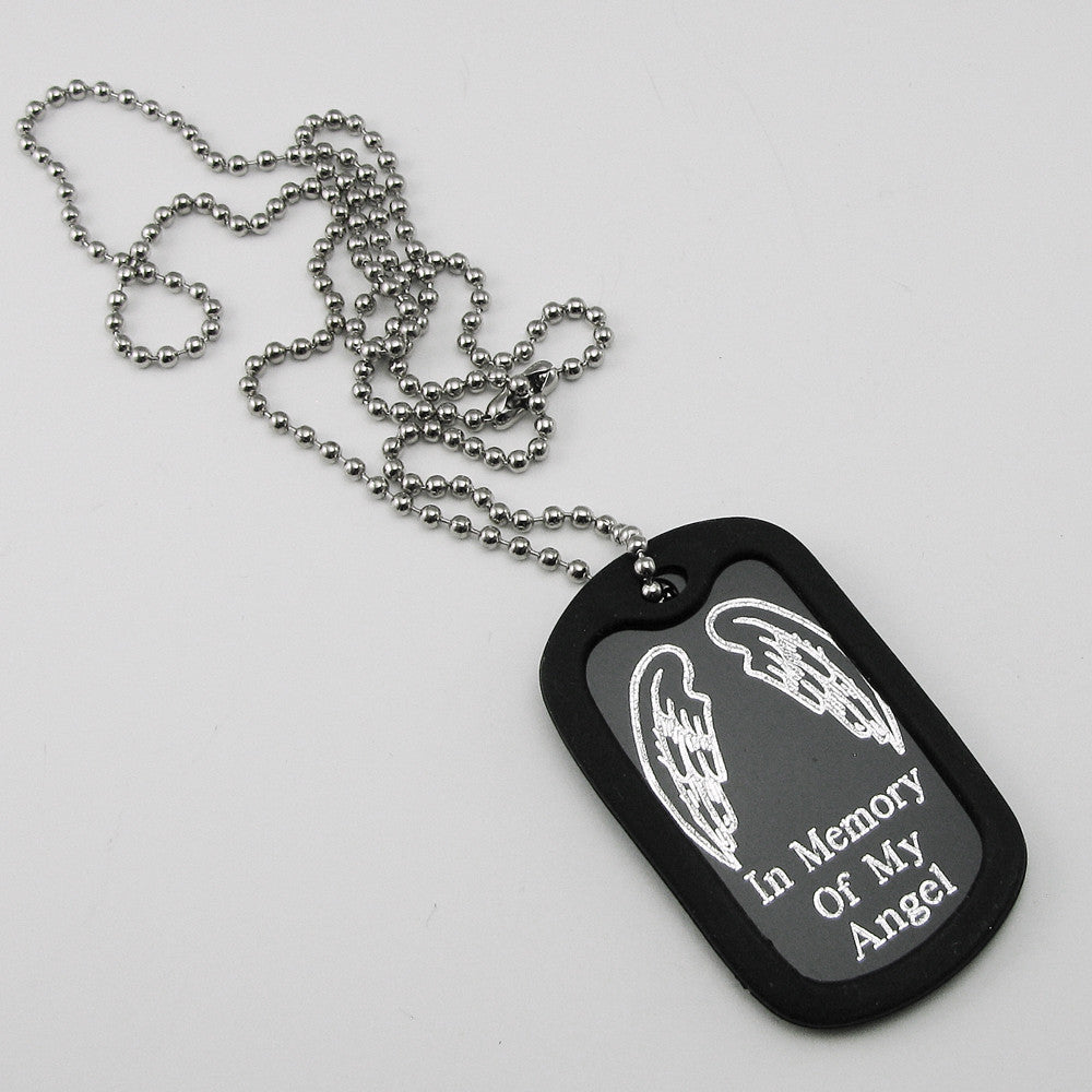 Angel Wings Aluminum Dog Tag Memorial Necklace My
