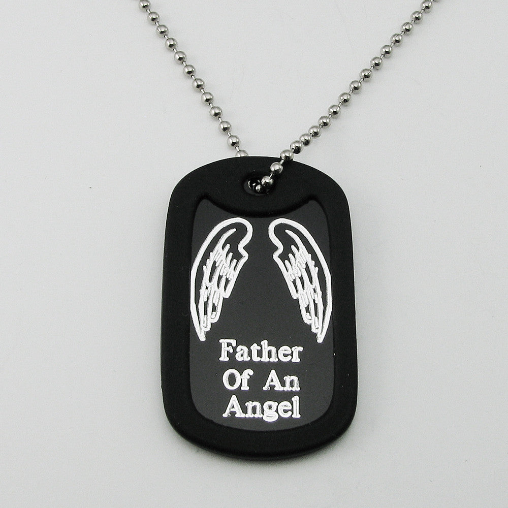In Memory of my Angel- Angel Wings black aluminum dog tag pendant memorial necklace