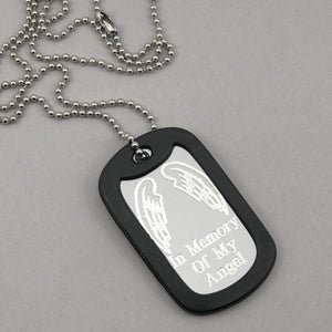 In Memory of my Angel- Angel Wings silver aluminum dog tag pendant memorial necklace