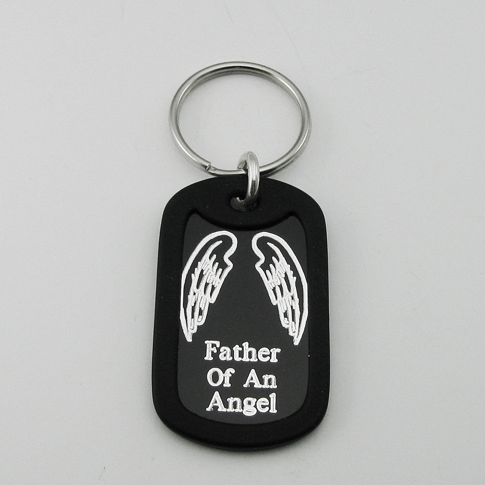 Father of an Angel- Angel Wings black aluminum dog tag pendant memorial keychain