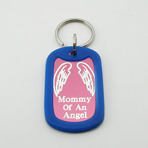 Mommy of an Angel- Angel Wings pink aluminum dog tag pendant with Blue rubber silencer memorial keychain