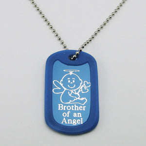Brother of an Angel- Baby Angel blue aluminum dog tag pendant memorial necklace
