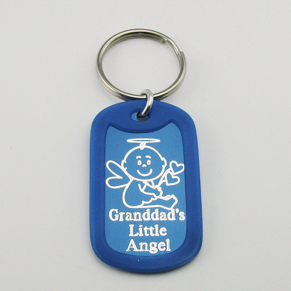 Granddad's Little Angel- Baby Angel blue aluminum dog tag pendant memorial keychain