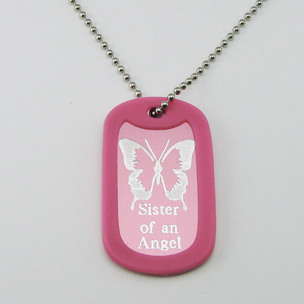 Sister of an Angel- Butterfly pink aluminum dog tag pendant memorial necklace